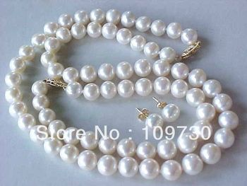 Jewelry 00312 set amazing natural 10-11mm Akoya white pearl necklace bracelet earring 14KGP
