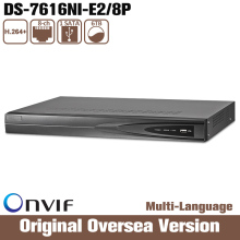 Hikvision Original Oversea Version DS-7616NI-E2/8P Network 16CH NVR 8 POE Interface 2SATA for HDD HD CCTV System Support Upgrade