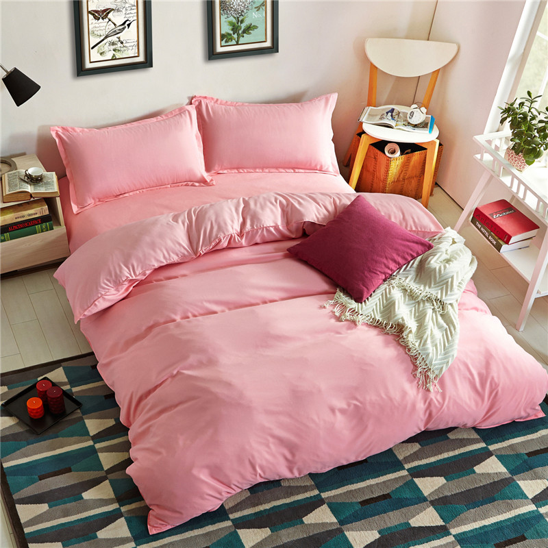 New Fashionable Bedding Set 3 / 4pcs Solid Color Jade Color Quilt Cover Bed Sheet Pillow Case Twin Full Queen King Size