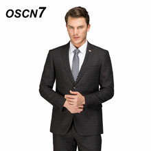 OSCN7 Custom Wool Plaid Casual Tailor Made Suits 2PCS Suit Men 2018 Winter Thick Slim Fit men clothing custom suit 4719(China)