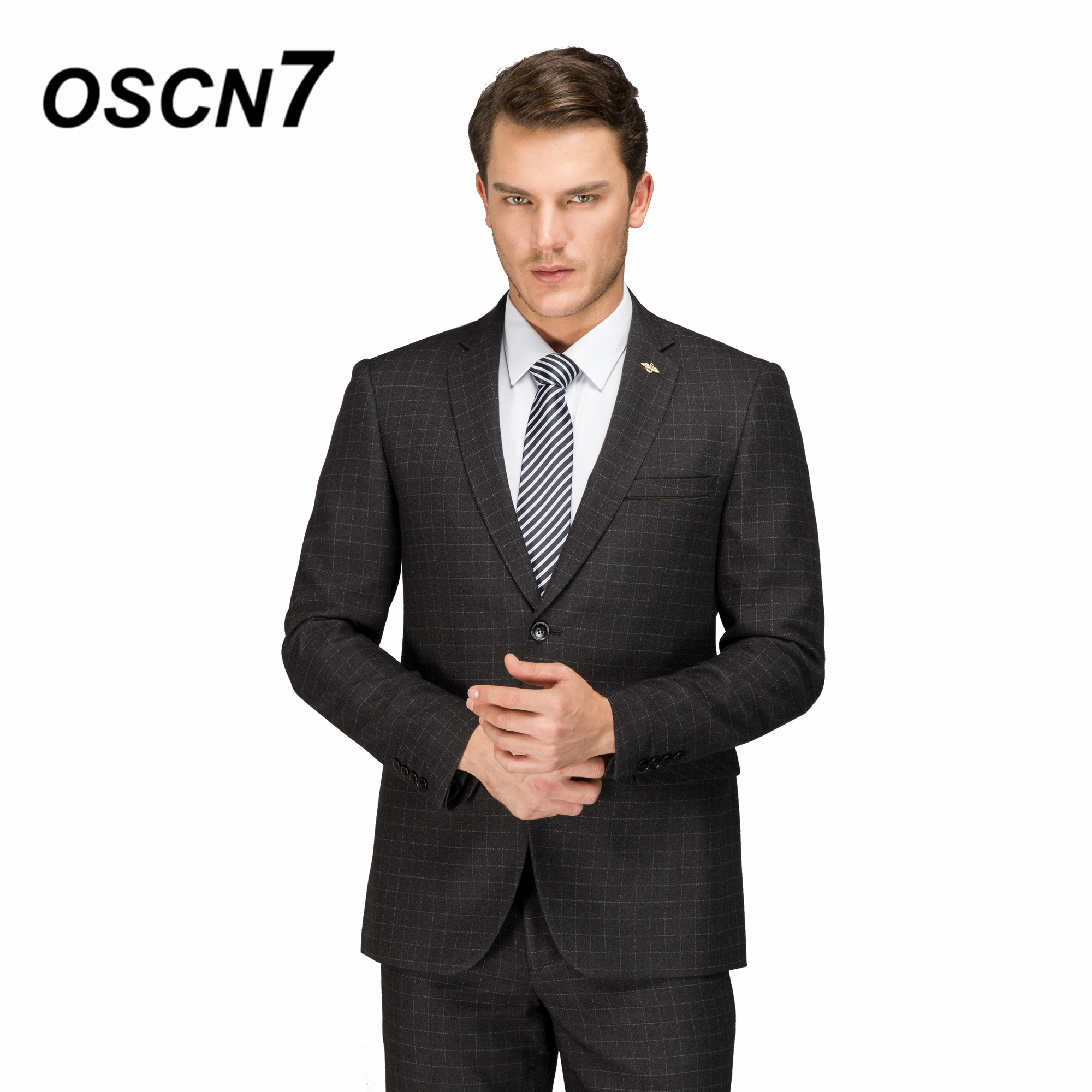OSCN7 Custom Wool Plaid Casual Tailor Made Suits 2PCS Suit