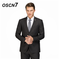 OSCN7 Custom Wool Plaid Casual Tailor Made Suits 2PCS Suit Men 2018 Winter Thick Slim Fit men clothing custom suit 4719