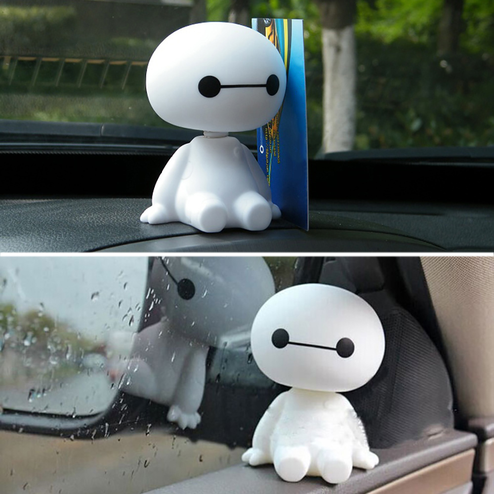 Cartoon Plastic Baymax Robot Shaking Head Figure Car Ornaments Auto Interior Decorations Big Hero Doll Toys Ornament Accessories car ornament cartoon doll adornment cute expression car decoration dashboard auto interior decor car accessories for gifts 7cm