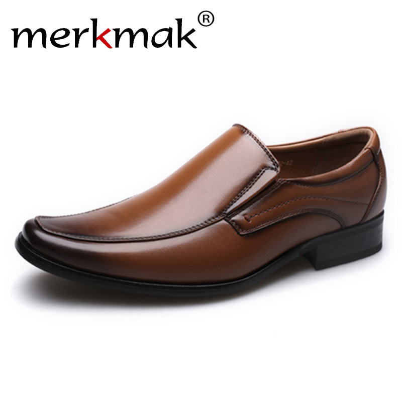 Merkmak 2019 Spring Autumn New Business Men Oxfords Casual Shoes Set Of Feet Dress Shoes Male Office Wedding Men's Leather Shoes