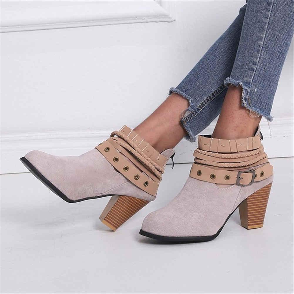 Брендовая модная Пряжка для пояса из флока на высоком каблуке, большие размеры 35-43 женские осенние ботильоны для отдыха женские ботинки