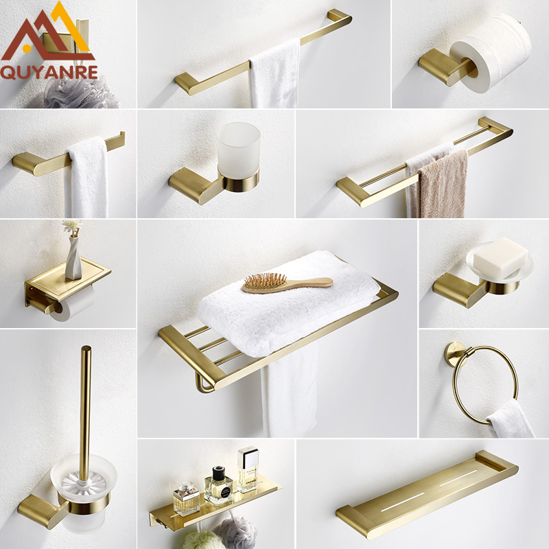 Quyanre Brushed Gold SUS304 Stainless Steel Bathroom Hardware Set Towel Shelf Towel Bar Paper Holder Hook Bathroom Accessories viborg deluxe sus304 stainless steel bathroom double towel bar towel rail holder hanger satin nickel brushed