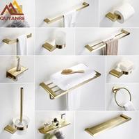 Quyanre Brushed Gold SUS304 Stainless Steel Bathroom Hardware Set Towel Shelf Towel Bar Paper Holder Hook Bathroom Accessories