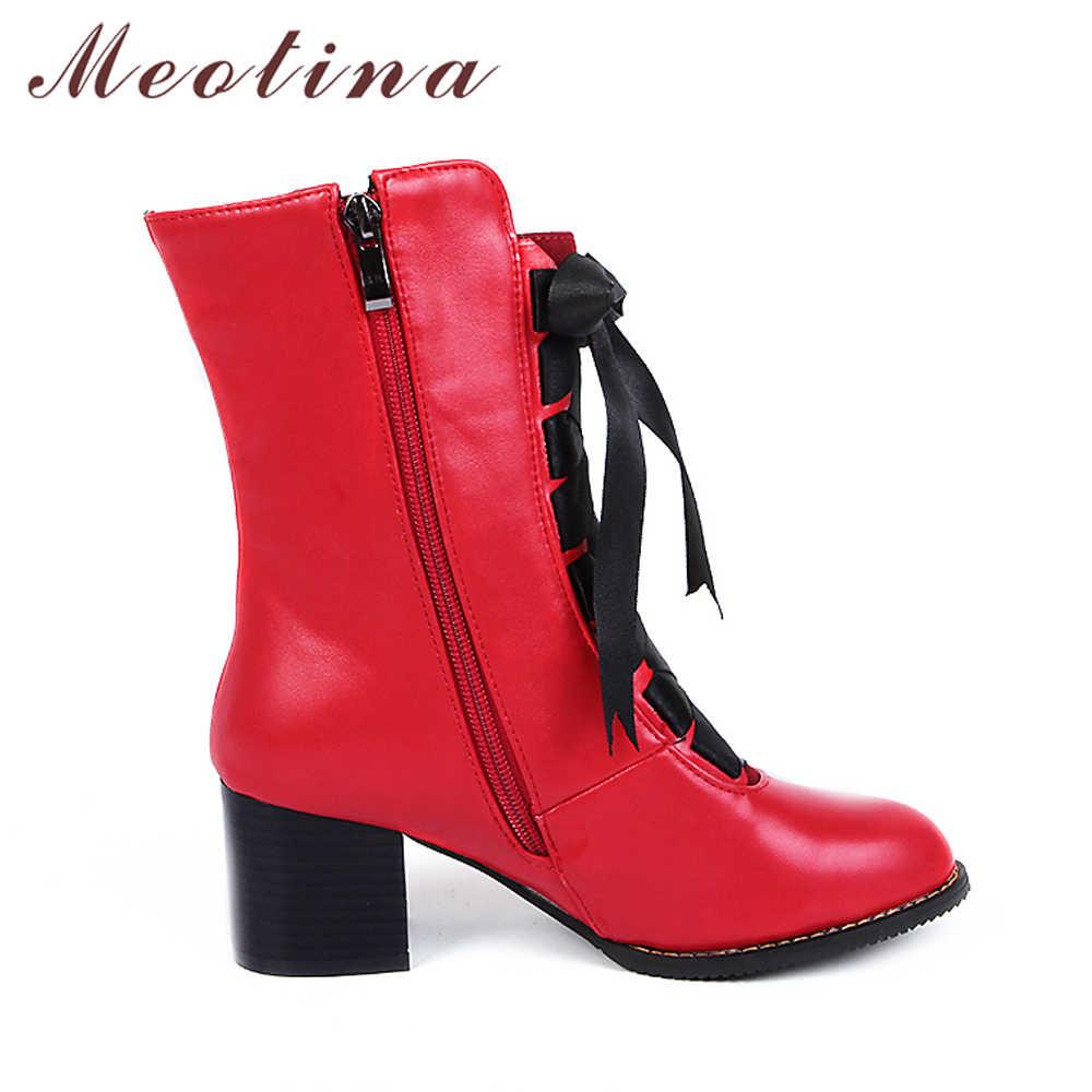 Женские сапоги до середины икры Meotina, ботинки на толстом каблуке, на шнуровке, красного, желтого цветов, байкерские сапоги, большие размеры до 46-го, зима 2018