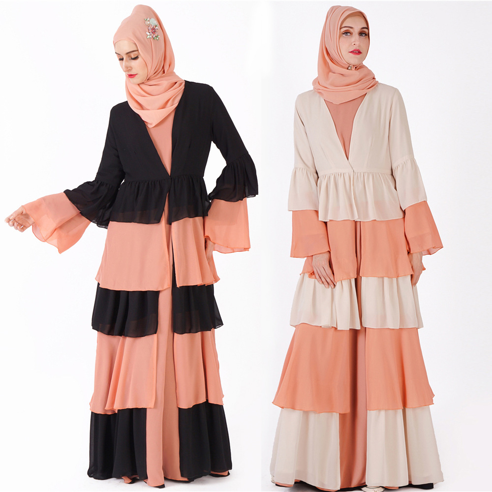 Vêtements islamiques avant ouvert jilbabs femmes musulmanes abaya noir (pas de hijab pas de robe intérieure)
