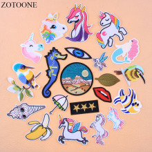 ZOTOONE Letters Cartoon Embroidered Military Patch Stripes On Clothes Patches For Clothing Iron Unicorn Parches Bordados Badges