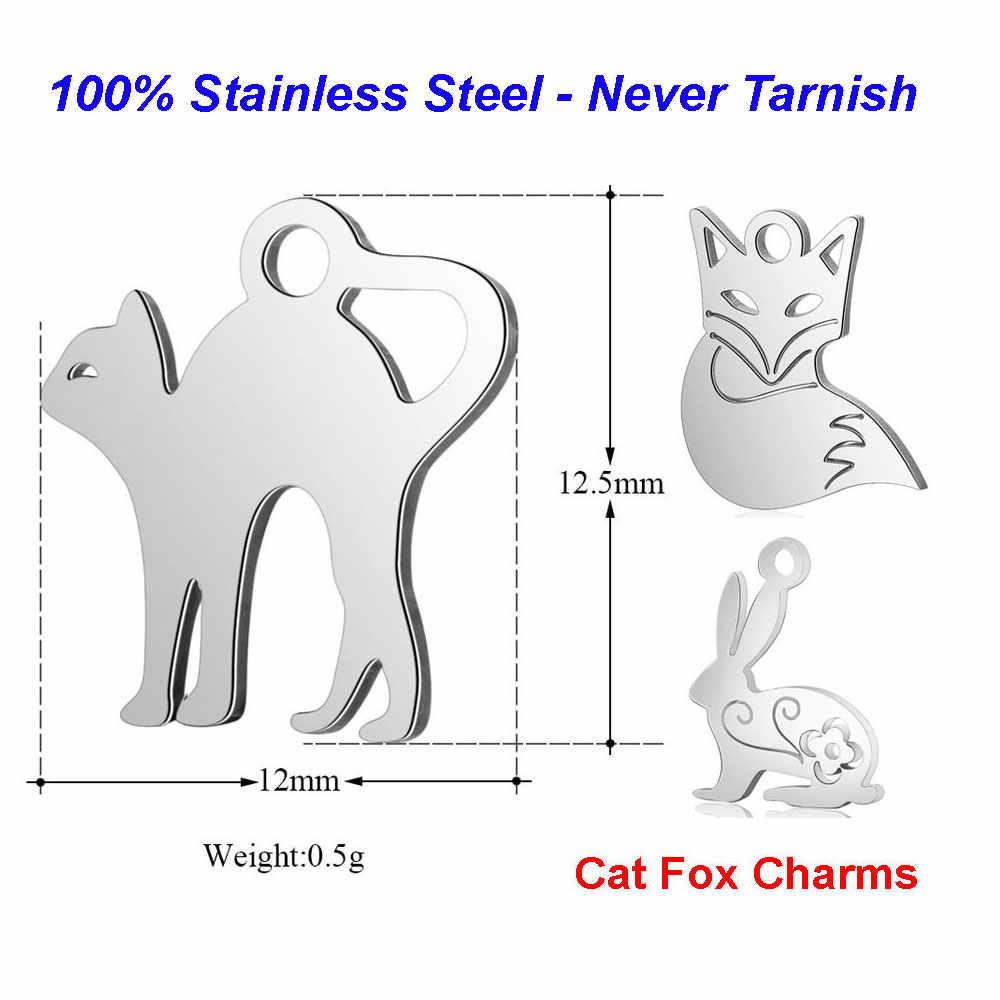 10 unids/lote 100% encantos de gato de acero inoxidable VNISTAR conejo de zorro altamente pulido Animal DIY encanto joyería encontrar suministros al por mayor