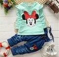 BibiCola nova primavera crianças moda bebê meninas conjunto de roupas de Marca meninas Dos Desenhos Animados meninas Terno Dos Esportes Moletons + Calças para o Bebê