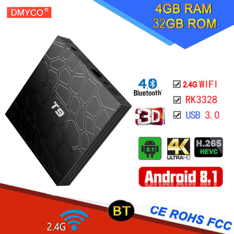 T9 android 8.1 tv box smart 4gb ram 32gb rom H.265 RK3328 Quad Core 2.4G WIFI USB 3.0 Smart Bluetooth Media Player Set-top Box hdmi коммутаторы разветвители повторители gefen ext hd2irs lan tx