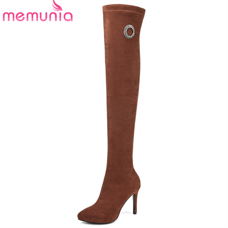 MEMUNIA 2018 new arrival thigh high boots women pointed toe autumn winter boots high heels Stretch socks boots fashion shoes MEMUNIA 2018 new arrival thigh high boots women pointed toe autumn winter boots high heels Stretch socks boots fashion shoes