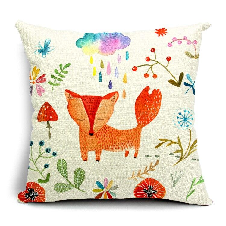Red fox hand painted cartoon cushion cover animal - Fundas cojines sofa ...
