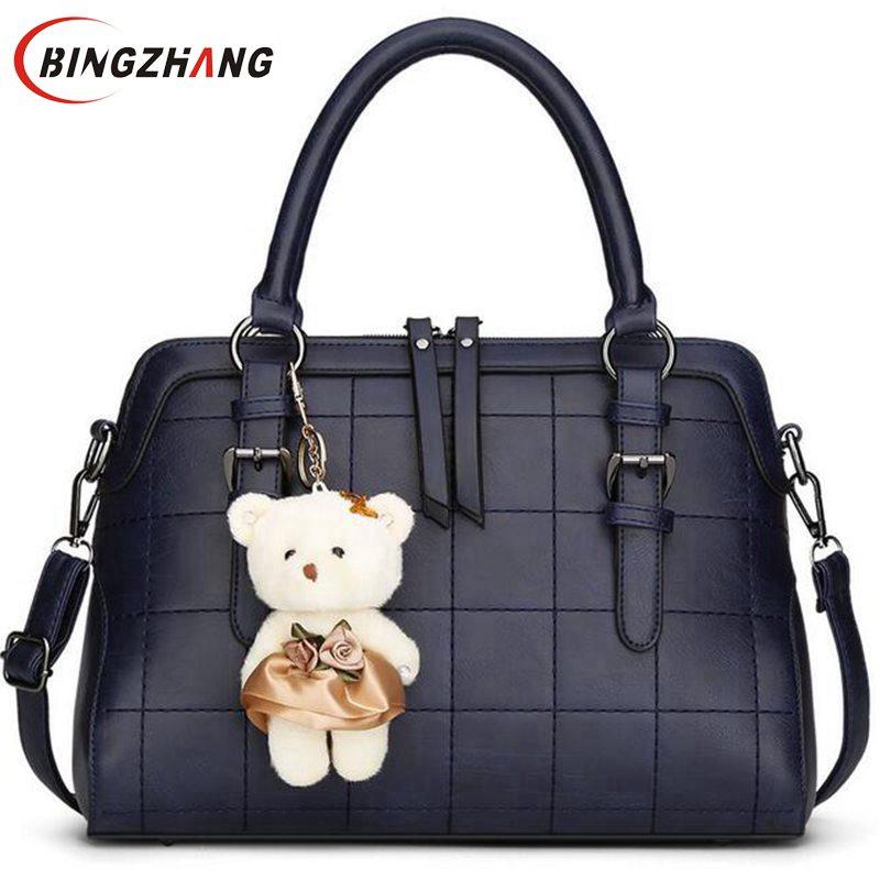 ФОТО 2017 Spring New Plaid Women Shoulder Bag With Bear Toy High Quality Women Messenger Bags Vintage Handbag L4-2330