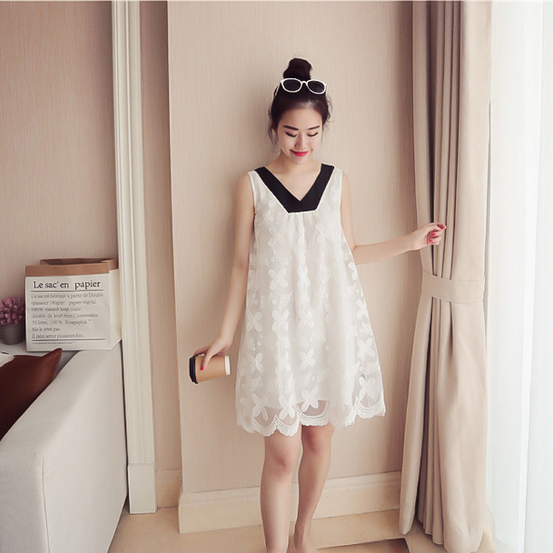 2018 Новое поступление летней беременных Для женщин Мода v-образным вырезом с бантом кружевное платье Для женщин s в Корейском стиле Свободные... ...