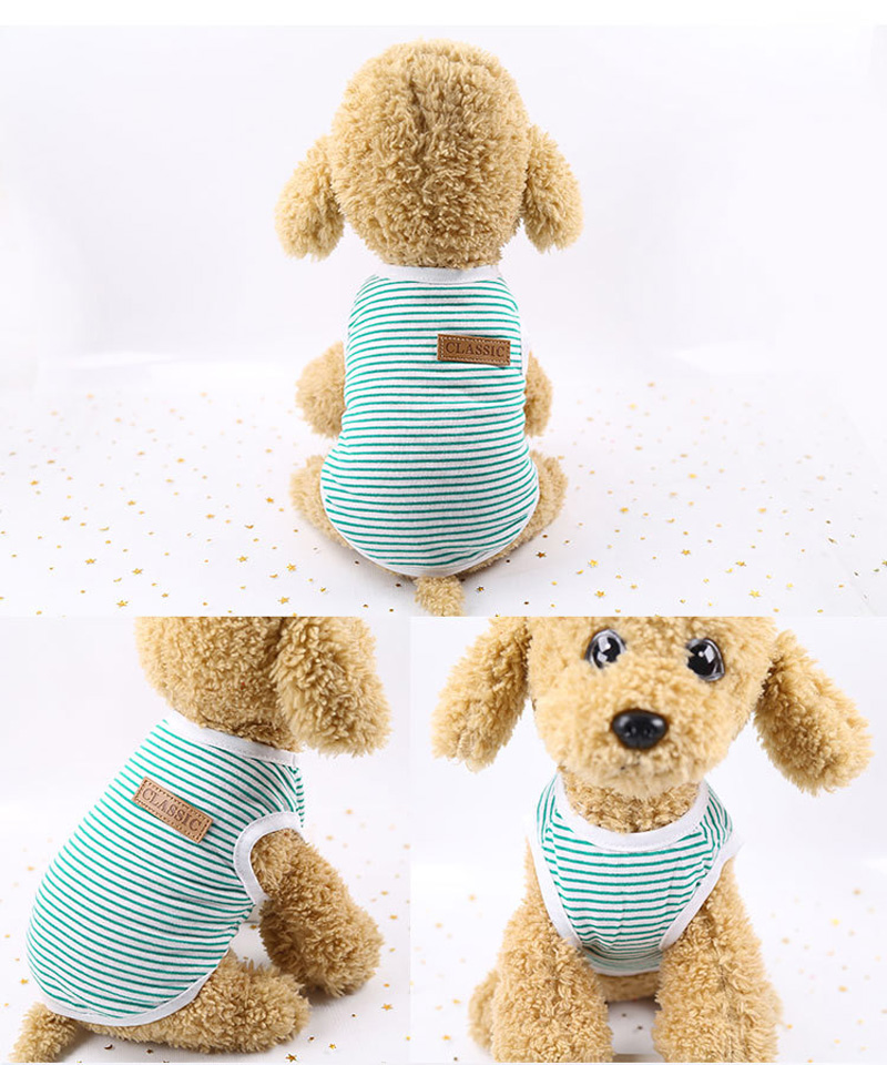 Pets Dog Clothing Spring/Summer Pet Cat Clothes for Cats Kitty Kitten Classic Striped Vest T-shirt Fashion Cotton Cats Shirts 12