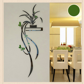 Acrylic Orchid Flower Wall Sticker  Self-adhesion Home Decor  Living Room TV Background 3D Wall Decals Wall Decor 1