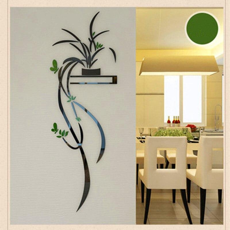 Acrílico orquídea flor adesivo de parede auto-adesão decoração da casa sala de estar tv fundo 3d decalques de parede decoração da parede