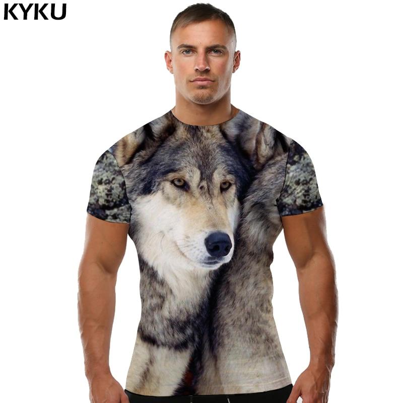 KYKU Brand Wolf   Shirt   Funny   T     Shirts   3d   T     Shirt   Men Clothes Animal   T  -  shirt   Short Sleeve Mens Clothing Summer 2018 Casual Wear