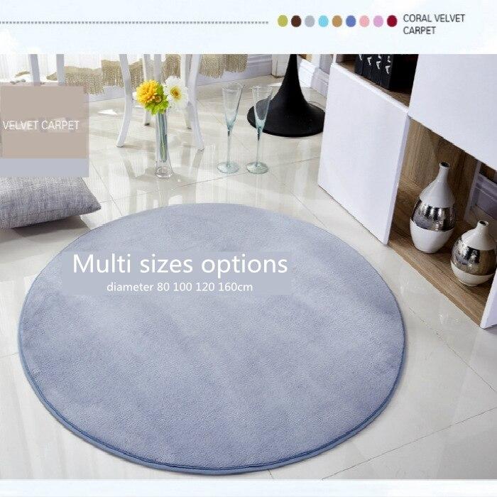 Senhot Round Floor Mat Coral Fleece Anti-skid Living Room Bedroom Rug In Multi Colors