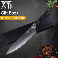 XYj Damascus Steel Knife 8'' Chef 7'' Santoku Knife VG10 Sharp Blade Color Wood Handle Knives Gift Box Cooking Accessories