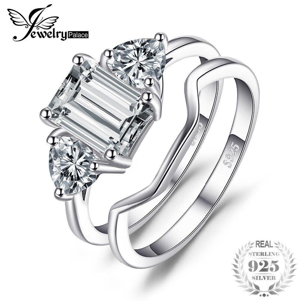 Jewelrypalace Изумрудный Cut 2.7ct фианит 3 Камень Свадебные кольца 925 серебро для модных женщин