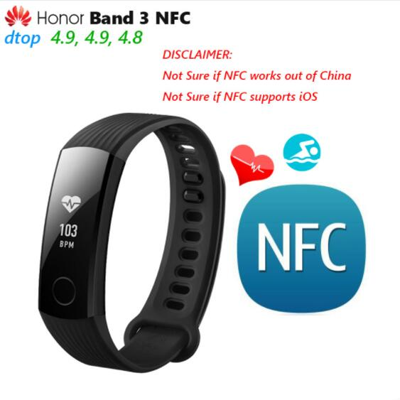 Original Huawei Honor Band 3 NFC Edition Smart Wristband Swimmable 5ATM 0.91 OLED Touchpad Heart Rate Monitor Push Message eset nod32 антивирус platinum edition 3пк 2года