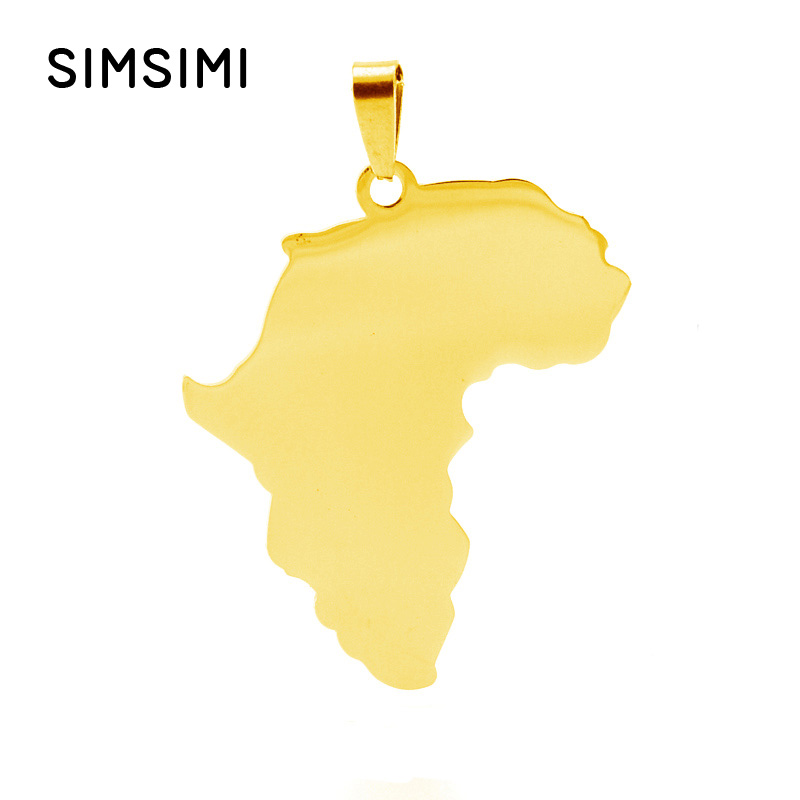 Simsimi Africa Map Stainless steel pendant charms of African Map for personalized print both sides mirror