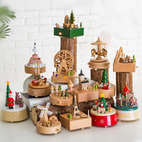 14 Type Wooden Music Box Creative Gift Gifts For Kids Musical Carousel Ferris Wheel Boxes Boxs Navidad Decorations For Home