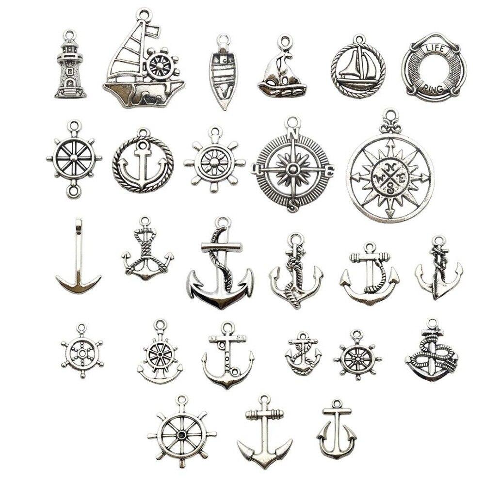 10Pcs Antiqued Silver Tone DIY// Anchor Mixed Charms Pendants