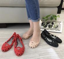 Melissa sandały damskie buty Roman oddychające sandały 2019 Melissa panie galaretki buty sandały plażowe sandały tanie tanio Dla dorosłych Ankle wrap Na co dzień Slip-on Gumy Stałe Moda Niska (1 cm-3 cm) Rzym Pokrywa heel Otwarta Mieszkanie z