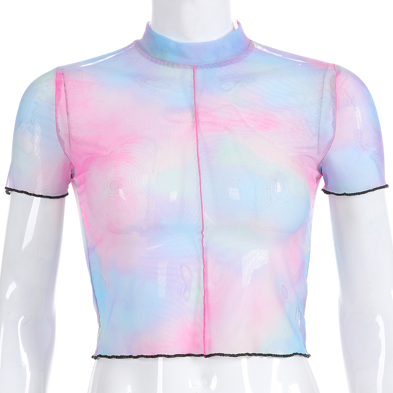 Darlingaga Fashion Colorful Mesh Top Women T-shirts Transparent Short Sleeve Sexy Summer T Shirt Crop Tops 2019 Tee Shirt Femme