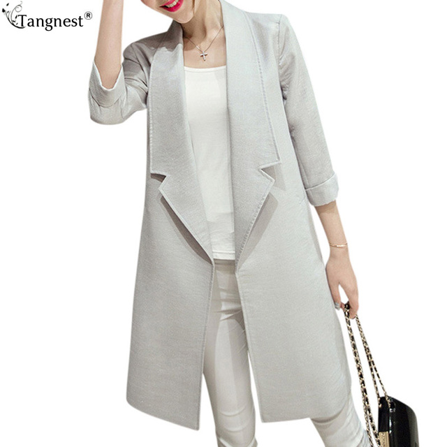 TANGNEST Spring Women Long Trench 2017 New Casual Coat British Style Slim A-Line Solid Coats Big Lapel Manteau Femme WWF385