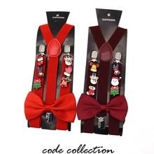 New 2.5cm Wide Random Christmas Acrylic Brooch Decoration Suspenders For women men kids 3 Clip Bow Tie Set Gift
