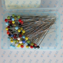 100 COLOR GLASS PEARLIZED HEAD STRAIGHT PINS~35mm # GPH-100