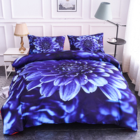 3D Printed Bedding Set Blue Flowers Duvet Cover Set Pillowcase Quilt Comforter Cover Single/Twin/Full/Queen/King/Double Size