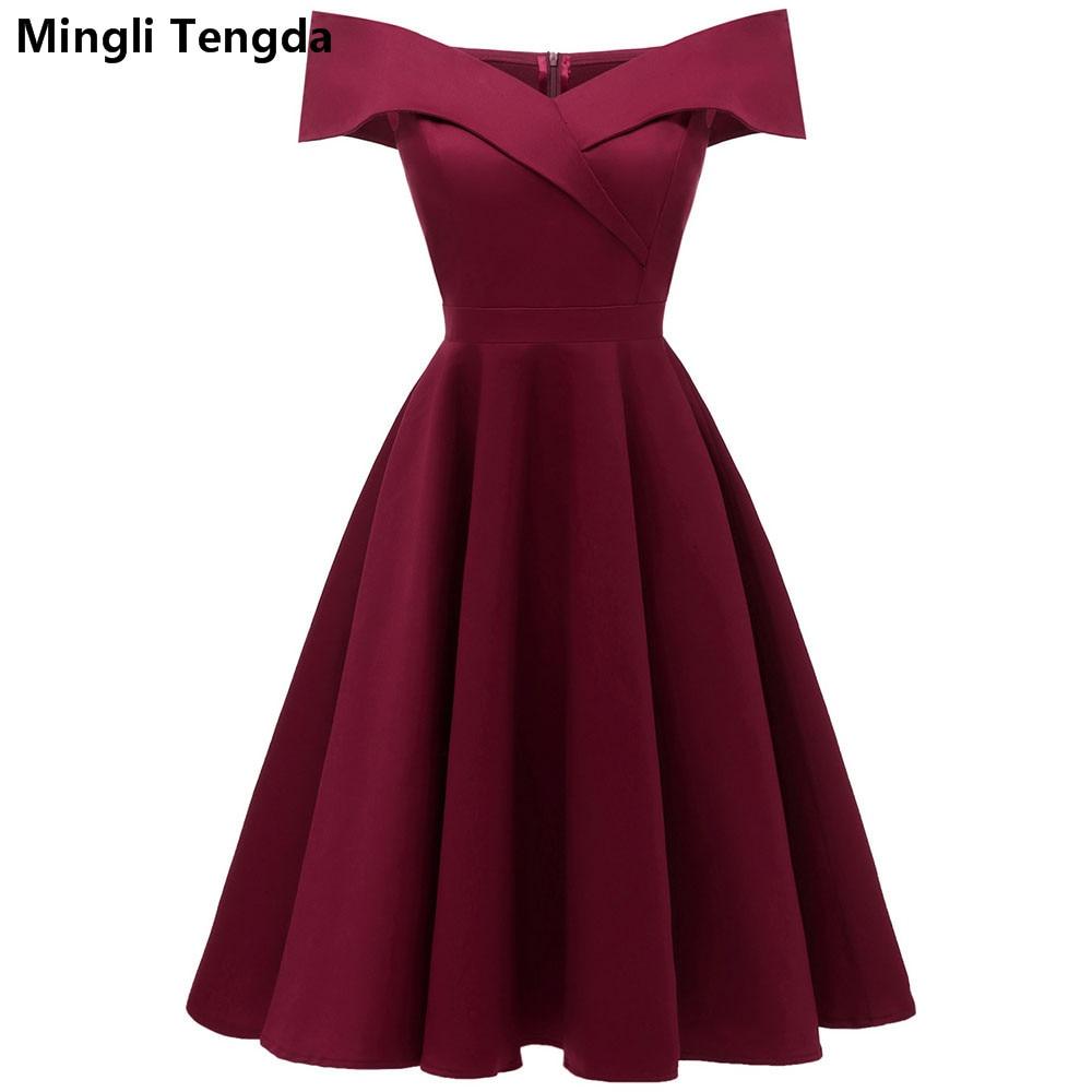 Mingli Tengda Vintage Red Wine Bridesmaid Dress Black Wedding Party Dress Elegant Boat Neck Simple Dress Navy Bridesmaid Dresses