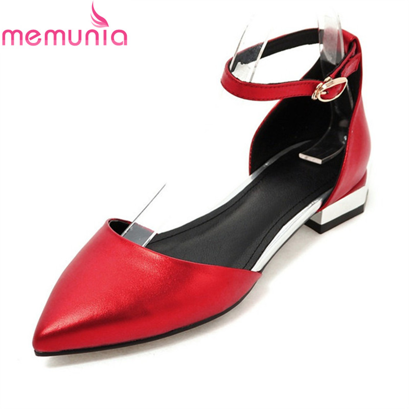 MEMUNIA women low heels shoes new arrive simple fashion sweet pointed toe buckle single shoes big size 34-41 memunia 2017 fashion flock spring autumn single shoes women flats shoes solid pointed toe college style big size 34 47