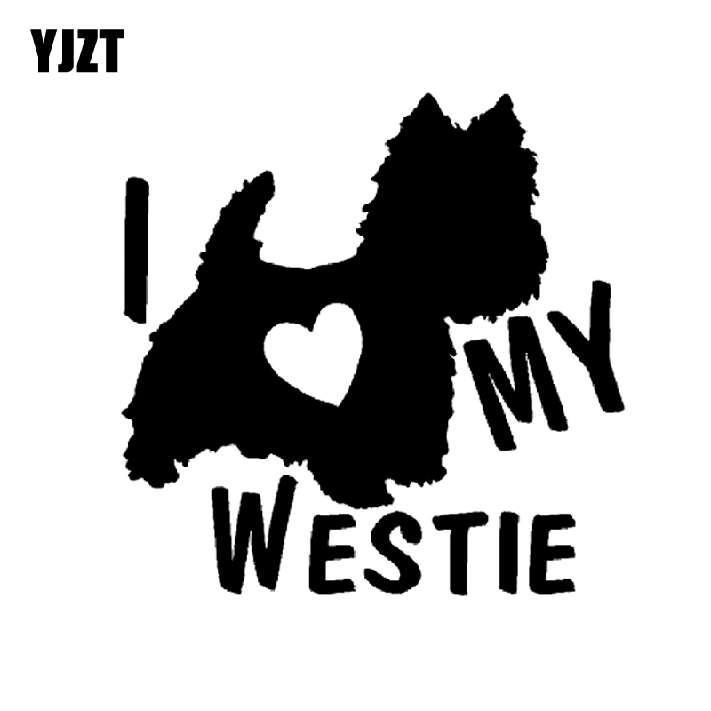 YJZT 14CM*13.8CM I LOVE MY WESTIE Terrier Dogs Vinyl Car Decals Stickers Black/Silver C10-00298
