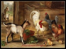 Needlework for embroidery DIY DMC High Quality – Counted Cross Stitch Kits 14 ct Oil painting – Goats, chickens and chicks
