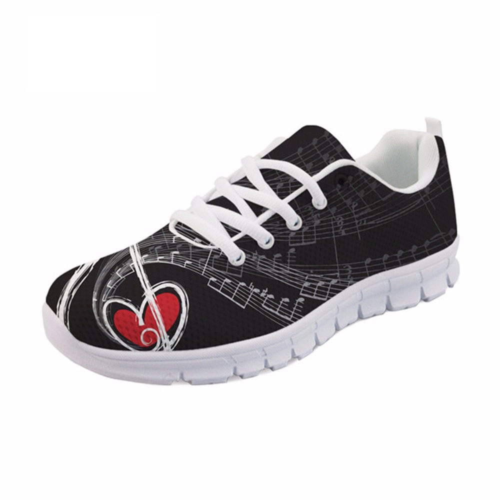 NOISYDESIGNS Music Notes with Piano Keyboard Print Casual Men Sneakers Flats Super Breathable Mesh Shoes for Teen Boys Men Shoes