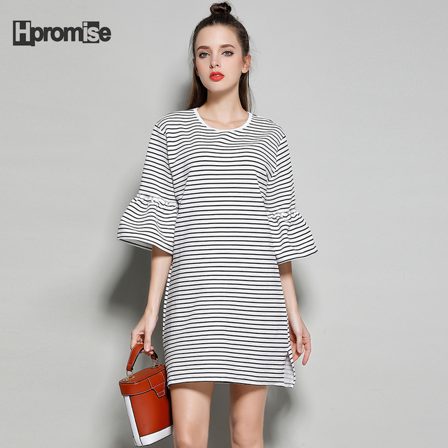 345580a3e9e 2017 summer dress women cotton junior plus size casual striped mini dress o  neck flare half sleeve straight office dress girls
