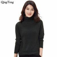 2018 Women Turtleneck High Collar 100% Pure Cashmere Sweater Funnel Neck Hemstitch Pattern Winter And Autumn Jumpers Knitwear