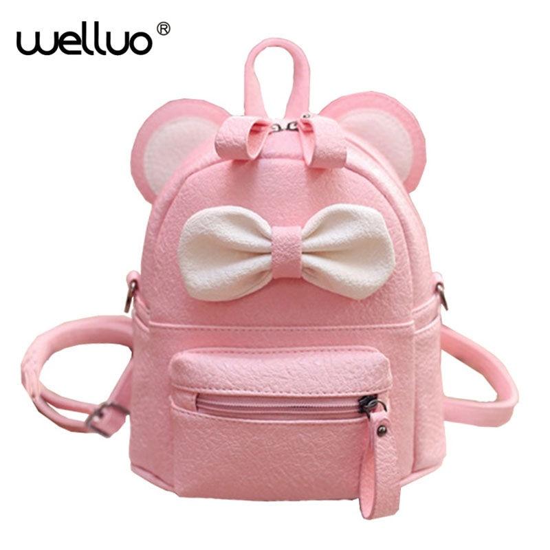 2016 Summer new female bag quality pu leather women bag Cute Animal backpacks ears sweet bow