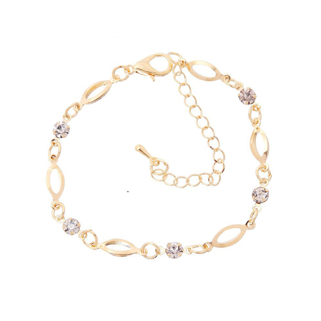 2018 Fashion Crystal Charm Bracelets for Women Gold Color Link Chain Cuff Bracelet Bangles Jewelry pulseras valentines day gift 2