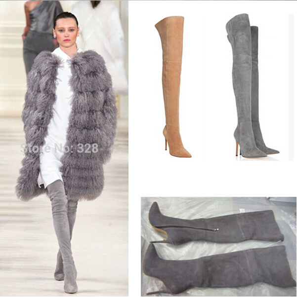 Thigh High Grey Boots