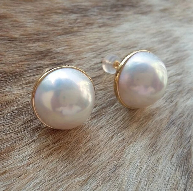 One Pair Aaa White South Sea Mabe Pearl Earrings Coin 18k S925 Stud 15