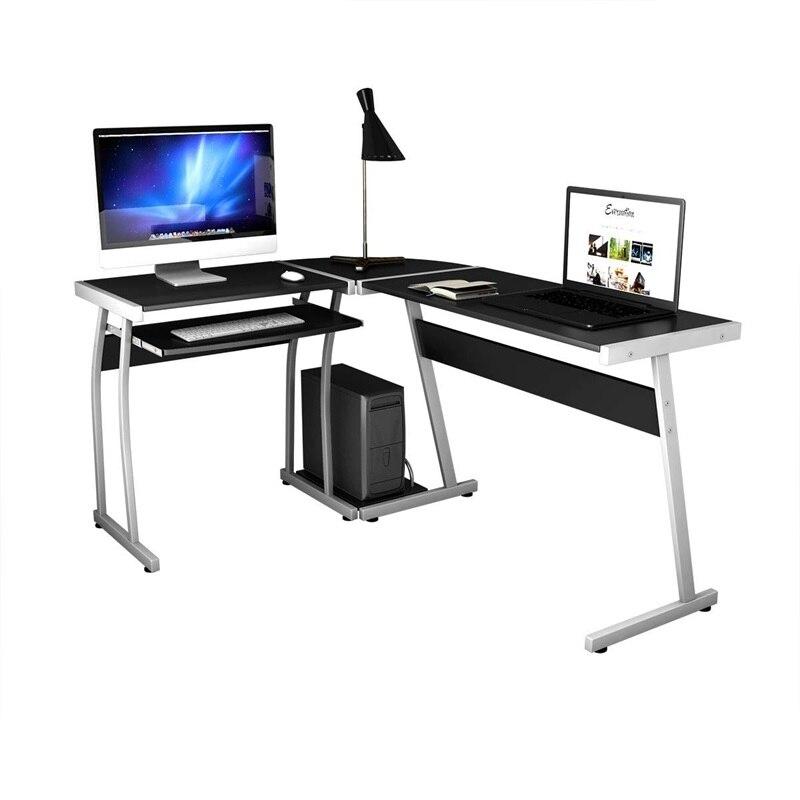 Grand bureau d'ordinateur de bureau en bois en forme de L Table d'ordinateur noir de haute qualité moderne avec tiroir à clavier coulissant HW55413